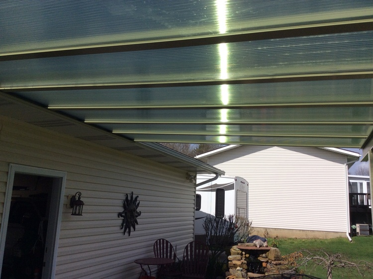transparent patio cover install photo