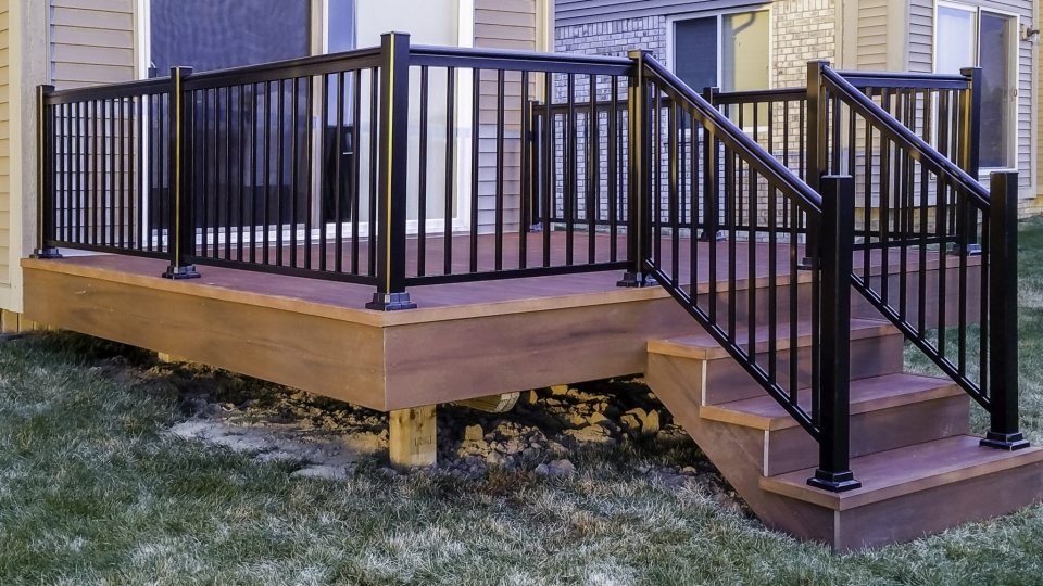 aluminum decking and stairs with railing photo