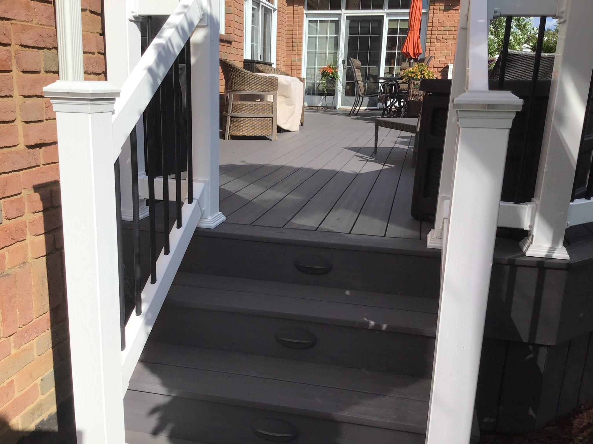 newly installed deck stairs and railing