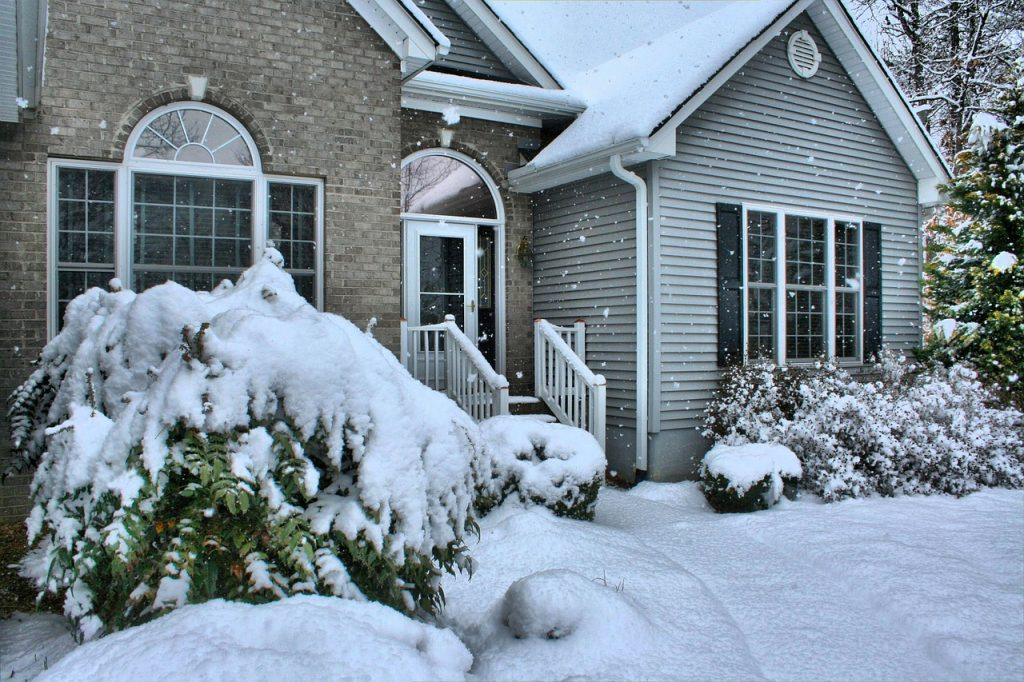 snow covered home photo