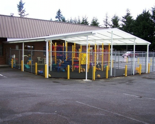 transparent patio cover for a playground photo