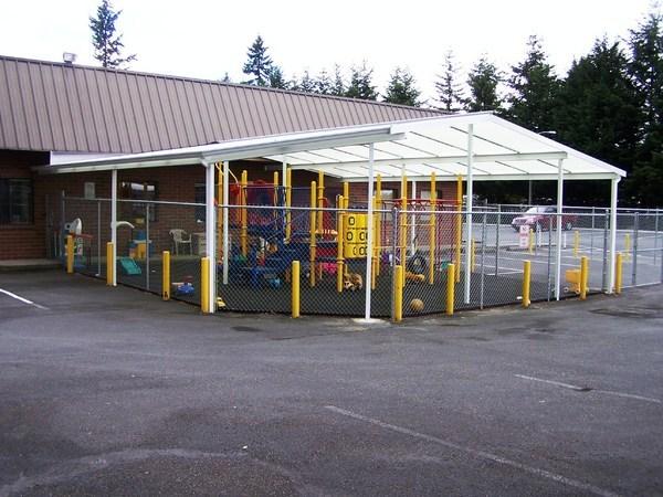 transparent patio cover for a playground photo